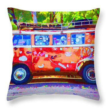 Throw Pillow featuring the photograph Hippie Van by Jaki Miller