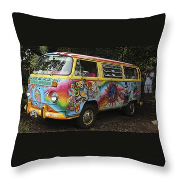 Vintage 1960's Vw Hippie Bus Throw Pillow
