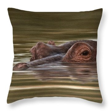 Hippo Painting Throw Pillow by Rachel Stribbling
