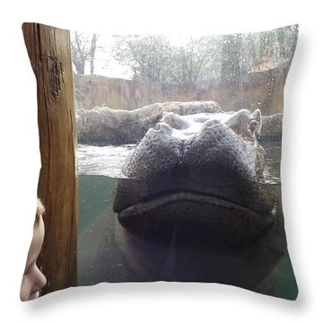 Hippo Time Throw Pillow