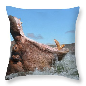 Hippopotamus Bursting Out Of The Water Throw Pillow
