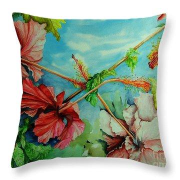 Hiroko's Hibiscus 3 Throw Pillow by Rachel Lowry