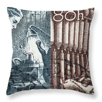 His And Hers Blue Collar Vintage Postage Stamp Details Throw Pillow by Andy Prendy