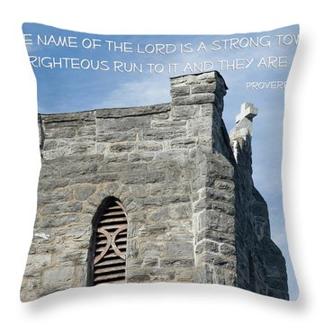 His Name Is A Strong Tower Throw Pillow