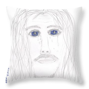 His Tears Throw Pillow by Shannon Redwine