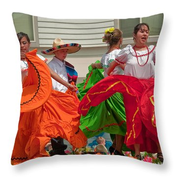 Hispanic Women Dancing In Colorful Skirts Art Prints Throw Pillow