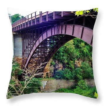 Historic Ausable Chasm Bridge Throw Pillow by Patti Whitten