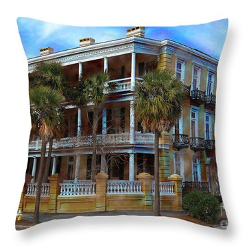 Throw Pillow featuring the photograph Historic Charleston Mansion by Kathy Baccari