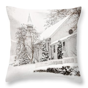 Throw Pillow featuring the photograph Historic Church In Oella Maryland During A Blizzard by Vizual Studio