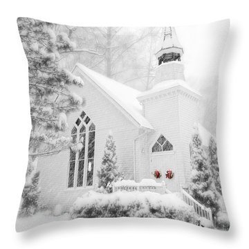 White Christmas In Oella Maryland Usa Throw Pillow