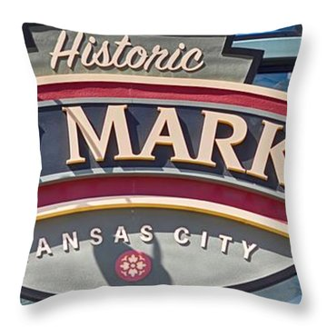 Historic City Market Sign  Throw Pillow by Liane Wright