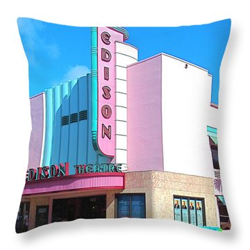 Deco Historic Edison Theater. Ft. Myers. Florida. Throw Pillow