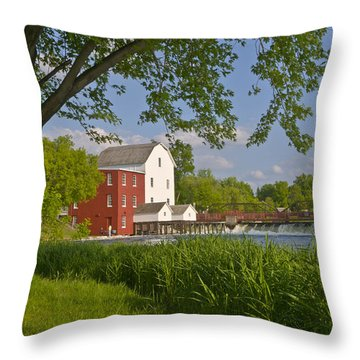 Historic Flour Mill By A River Throw Pillow