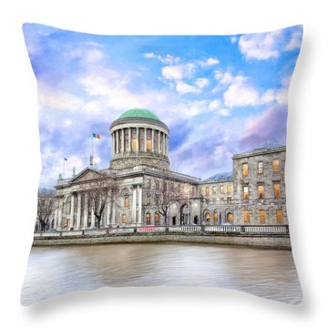 Historic Four Courts In Dublin Ireland Throw Pillow by Mark E Tisdale