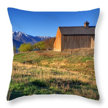 Historic Francis Tate Barn - Wasatch Mountains Throw Pillow by Gary Whitton