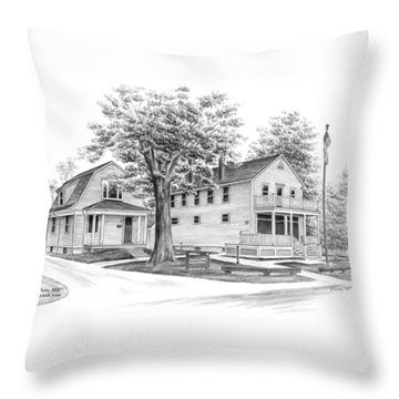 Throw Pillow featuring the drawing Historic Jaite Mill - Cuyahoga Valley National Park by Kelli Swan