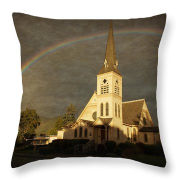 Historic Methodist Church In Rainbow Light Throw Pillow