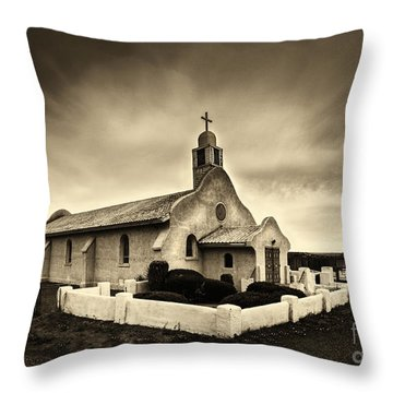 Historic Old Adobe Spanish Style Catholic Church San Ysidro New Mexico Throw Pillow by Jerry Cowart