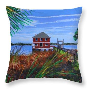 Historic Ormond Boathouse Throw Pillow