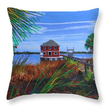 Throw Pillow featuring the mixed media Historic Ormond Boathouse by Deborah Boyd