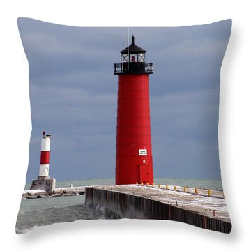 Throw Pillow featuring the photograph Historic Pierhead Lighthouse by Kay Novy