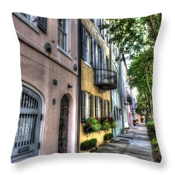 Historic Rainbow Row Throw Pillow