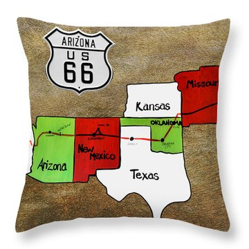 Historic Route 66 - The Mother Road Throw Pillow by Christine Till