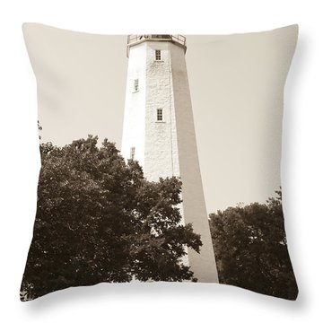 Historic Sandy Hook Lighthouse Throw Pillow