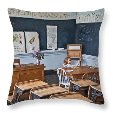 Historic School Classroom Art Prints Throw Pillow