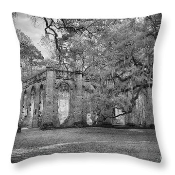 Historic Sheldon Church 6 Bw Throw Pillow