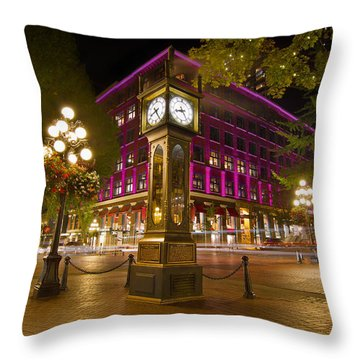 Historic Steam Clock In Gastown Vancouver Bc Throw Pillow
