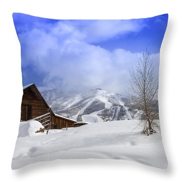 Historic Steamboat Springs Barn Throw Pillow by Teri Virbickis