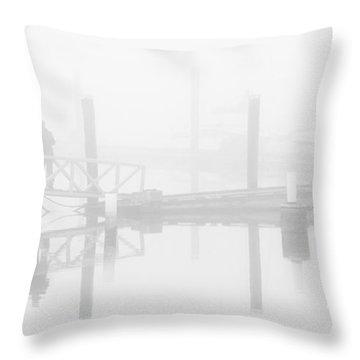 Historic Stewart Farm In The Fog Throw Pillow by Chris Dutton
