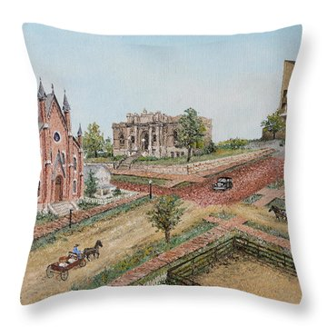 Throw Pillow featuring the painting Historic Street - Lawrence Kansas by Mary Ellen Anderson