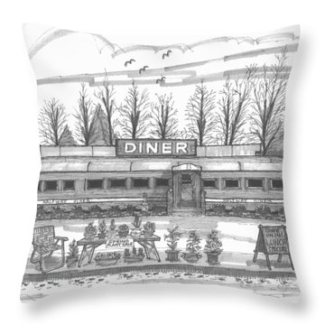 Historic Village Diner Throw Pillow