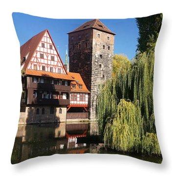 historic winestorage and executioner bridge in Nuremberg Throw Pillow by Rudi Prott