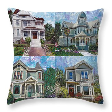 Historical Homes Throw Pillow by Linda Weinstock