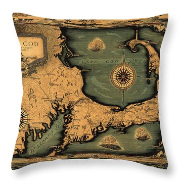 Historical Map Of Cape Cod Throw Pillow