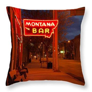 Historical Montana Bar Throw Pillow
