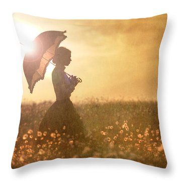 Historical Woman With Parasol In A Meadow At Sunset Throw Pillow by Lee Avison