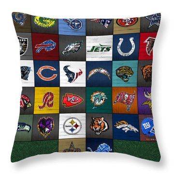Hit The Gridiron Football League Retro Team Logos Recycled Vintage License Plate Art Throw Pillow