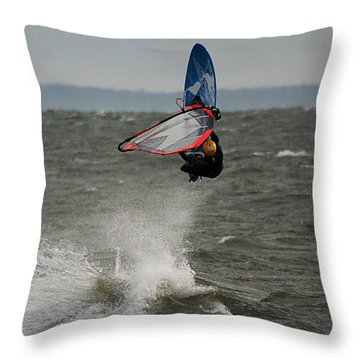 Throw Pillow featuring the photograph Hitting A Wave 1 by William Selander
