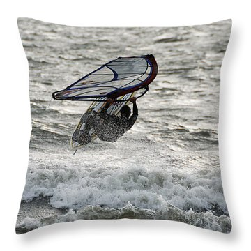 Throw Pillow featuring the photograph Hitting A Wave 2 by William Selander