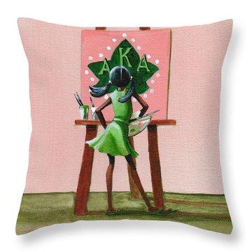 Hmmm  A Little More Pink Throw Pillow