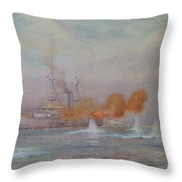 H.m.s. Albion Commanded By Capt. A. Walker-heneage Completing The Destruction Of The Outer Forts Throw Pillow