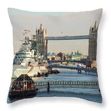 Hms Belfast London Throw Pillow
