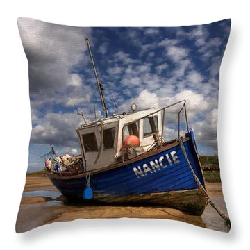Throw Pillow featuring the painting H.m.s. Nancie by Jann Paxton
