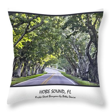 Hobe Sound Fl-bridge Street Banyans Throw Pillow by Betty Denise