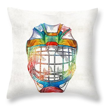 Hockey Art - Goalie Mask Patent - Sharon Cummings Throw Pillow