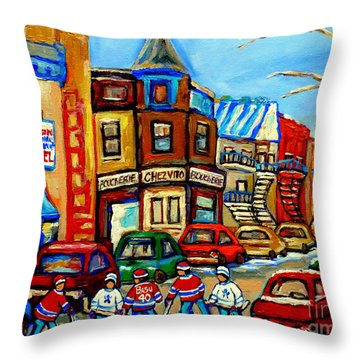 Hockey Art Montreal Winter Street Scene Painting Chez Vito Boucherie And Fairmount Bagel Throw Pillow by Carole Spandau